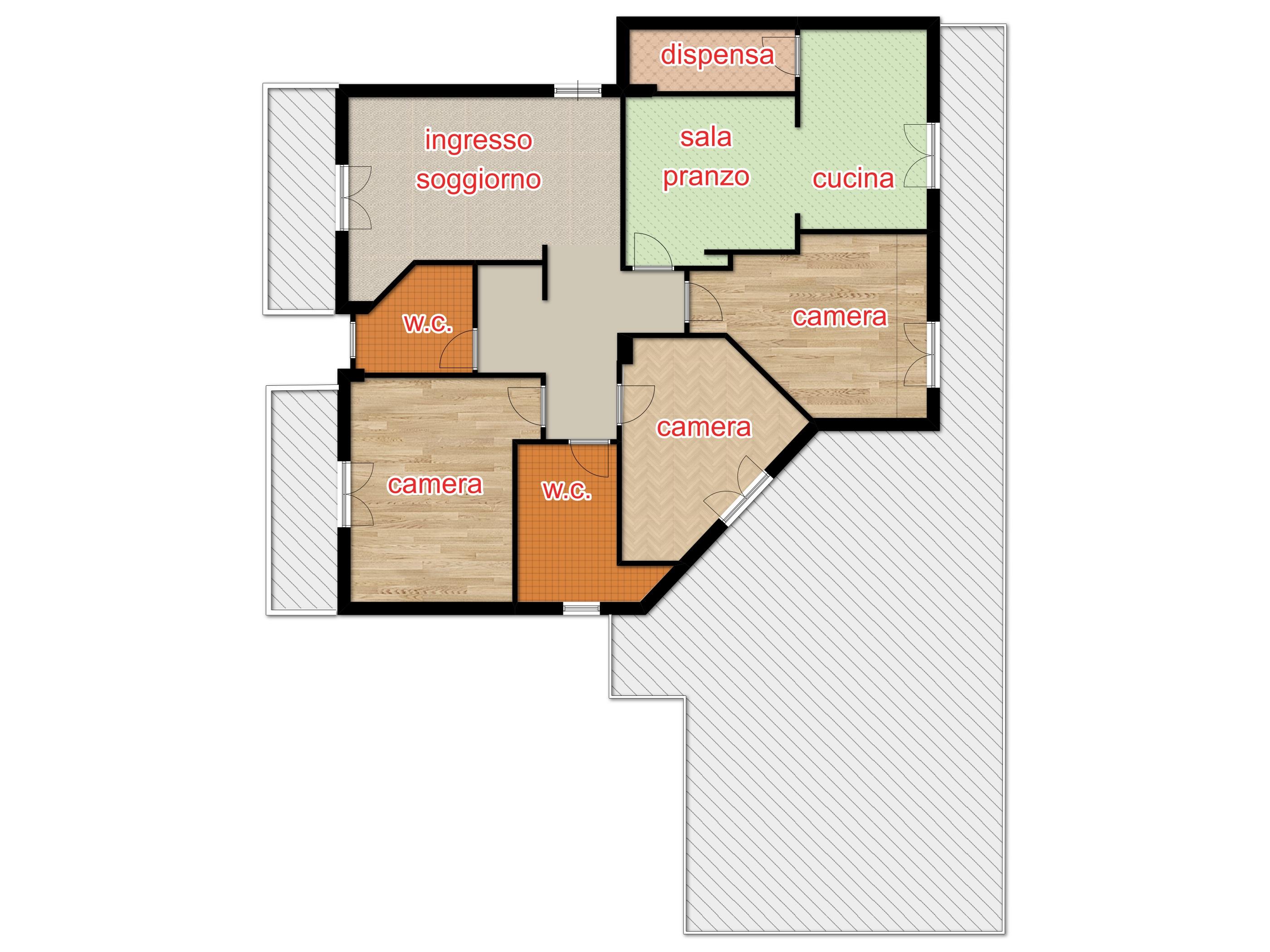 Appartamento con terrazzo e box auto a Baronissi